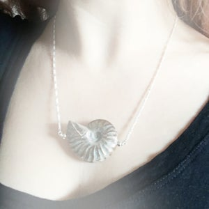 Image of Ammonite Shell Necklace - Sterling Silver