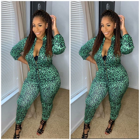 Image of Green Cheetah Jumpsuit