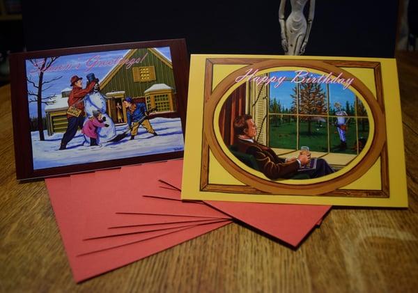 Image of Skeleton & Ivy Set of Four Dark Humor Seasonal Greeting Cards