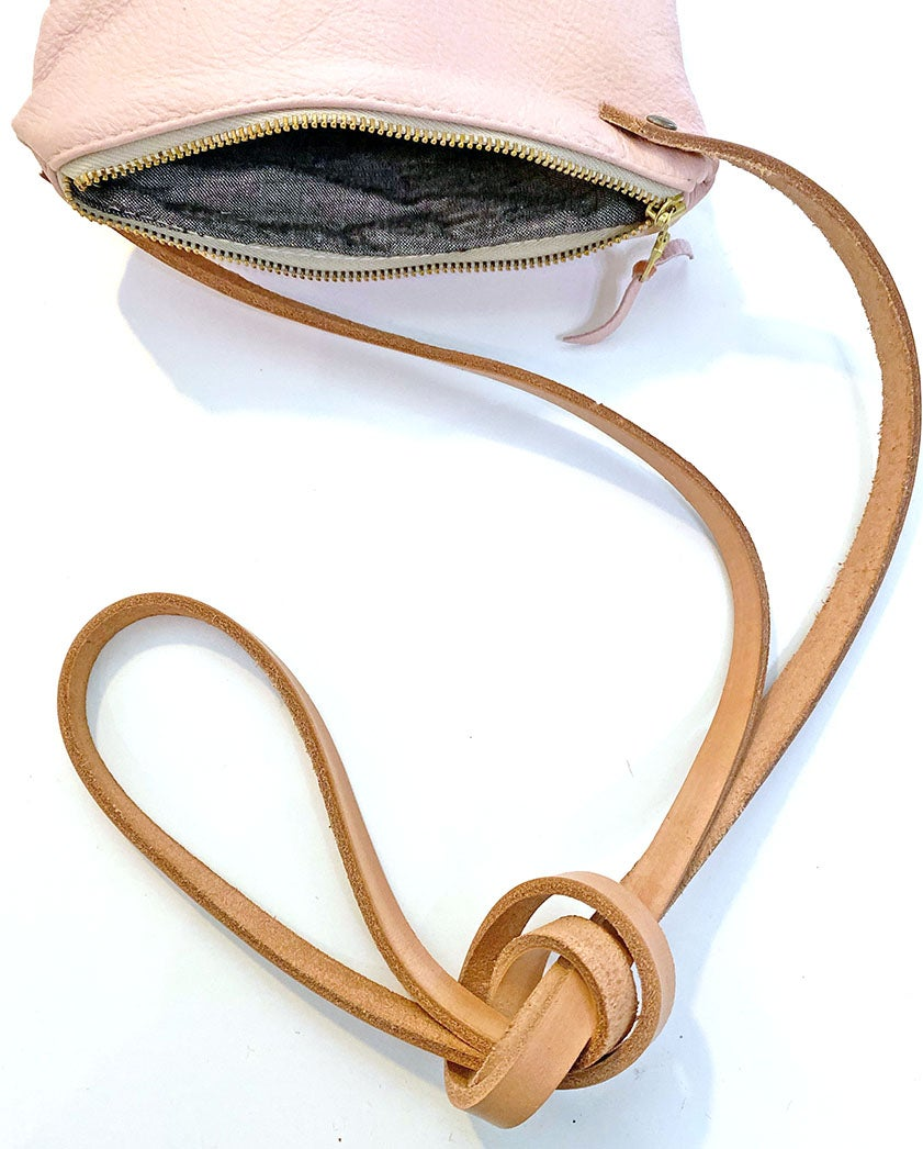Piece Out Crossbody- Pink Leather Medium Crossbody Bag