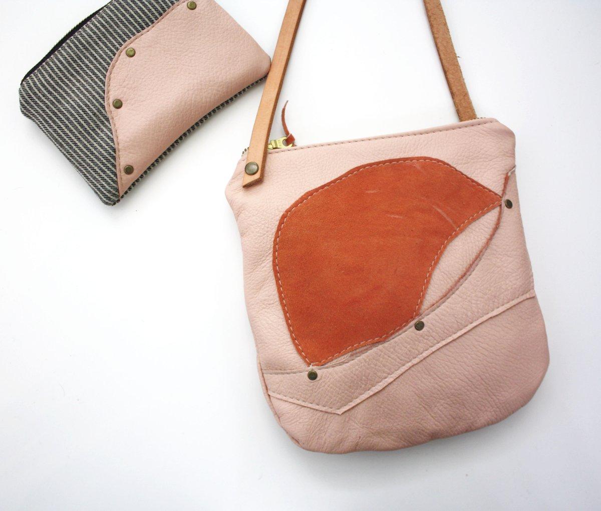 Piece Out Crossbody- Pink Leather Medium Crossbody Bag
