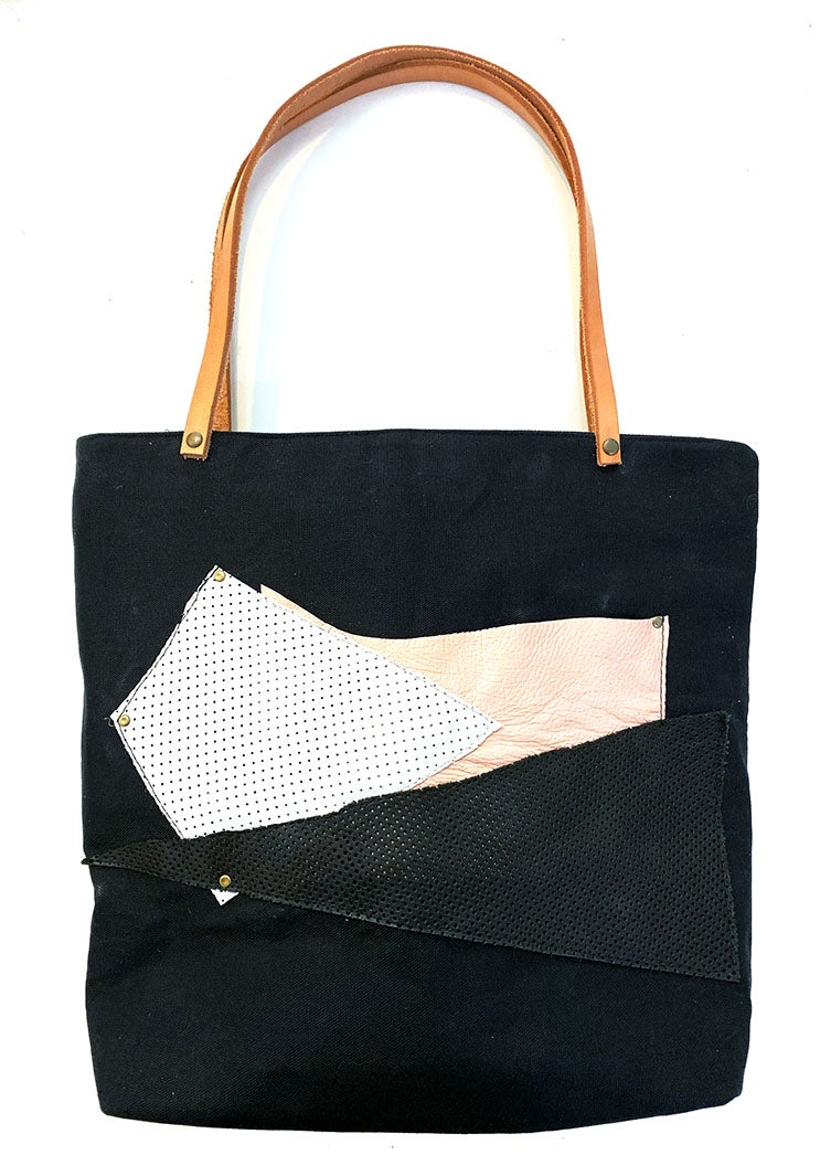 Piece Out Tote- Large Black Canvas Tote with Leather Straps