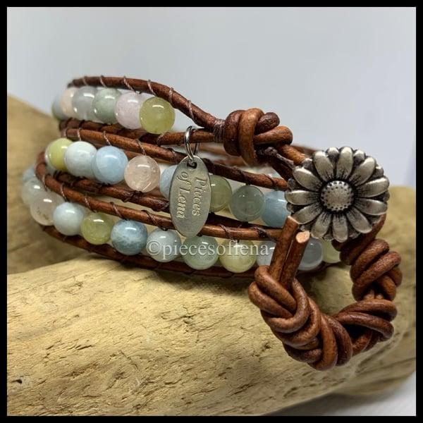 Image of RESERVED S. Cheney - Triple Wrap Bracelet  - Morganite Flower