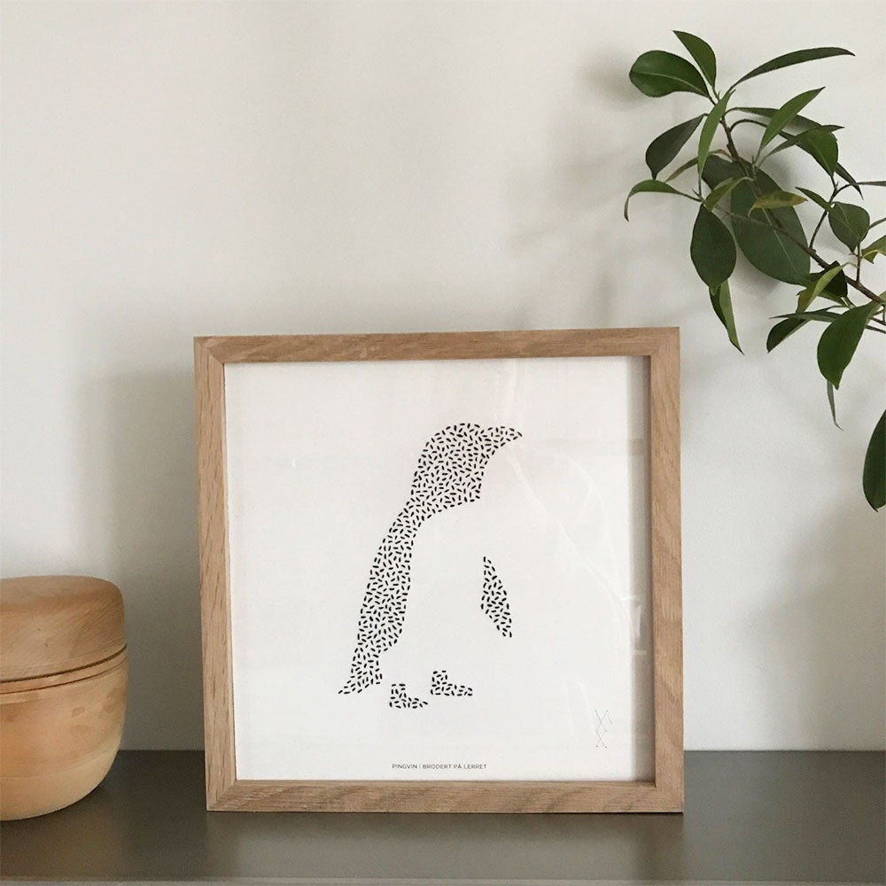 Image of Pingvin, trykk av broderi