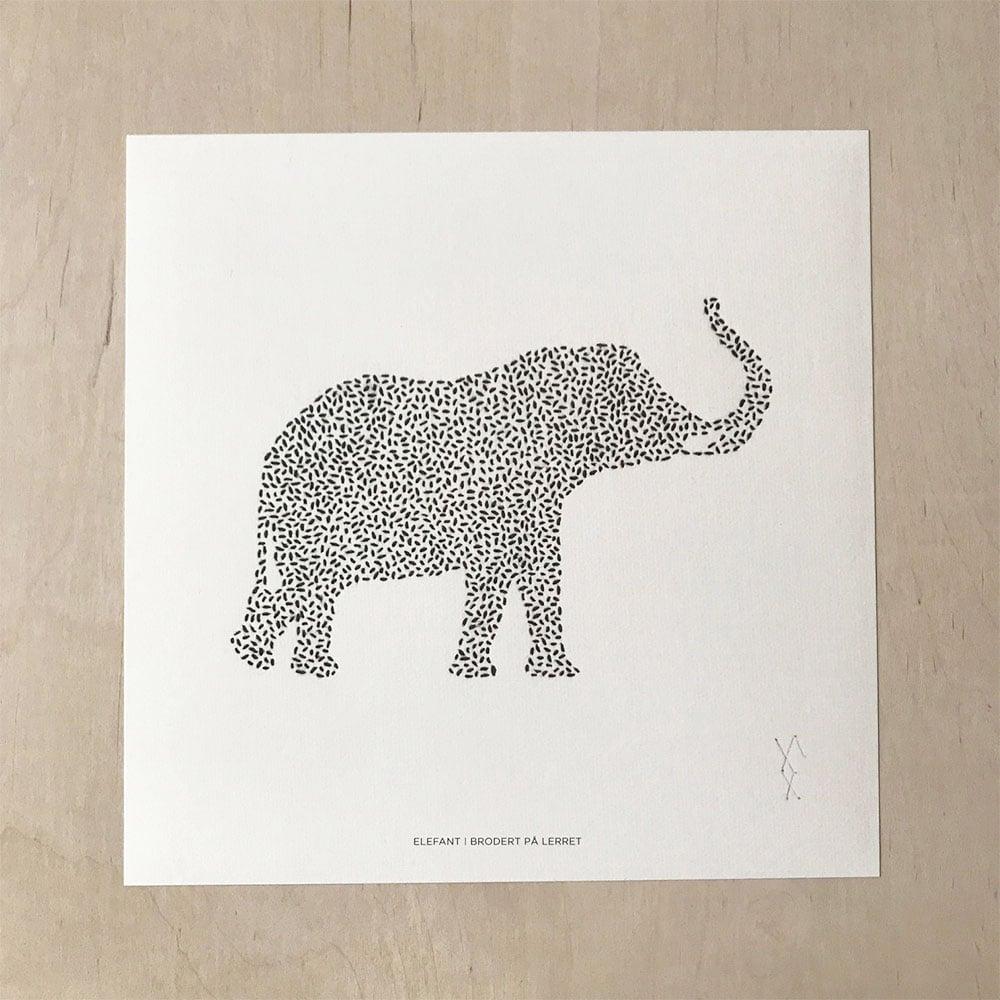 Image of Elefant, trykk av broderi