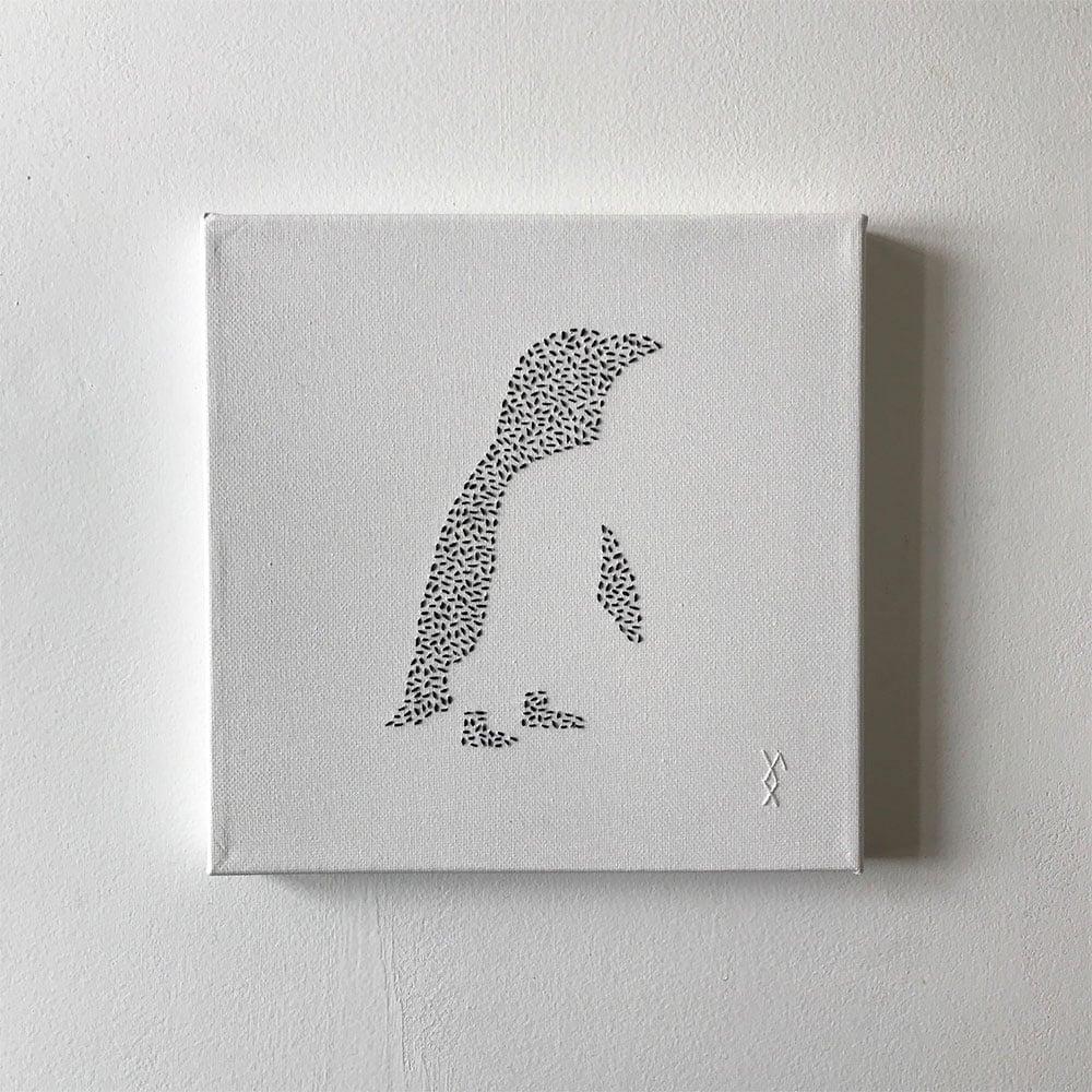 Image of Pingvin brodert på lerret