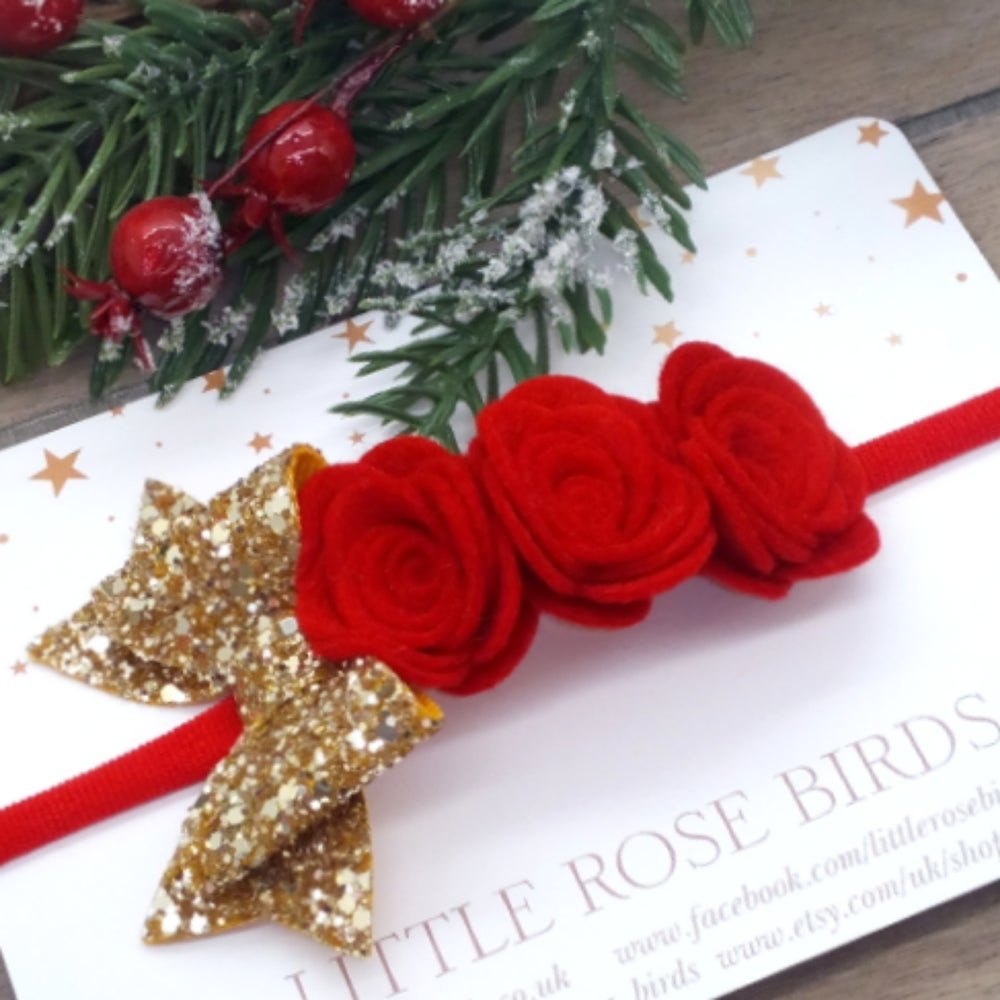 Image of Red Rose and Gold Glitter Bow Headband