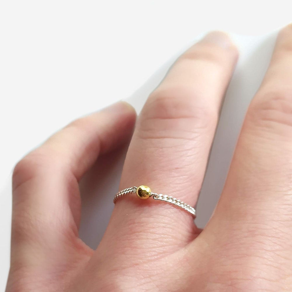 Image of Bague Chaine Boule Or