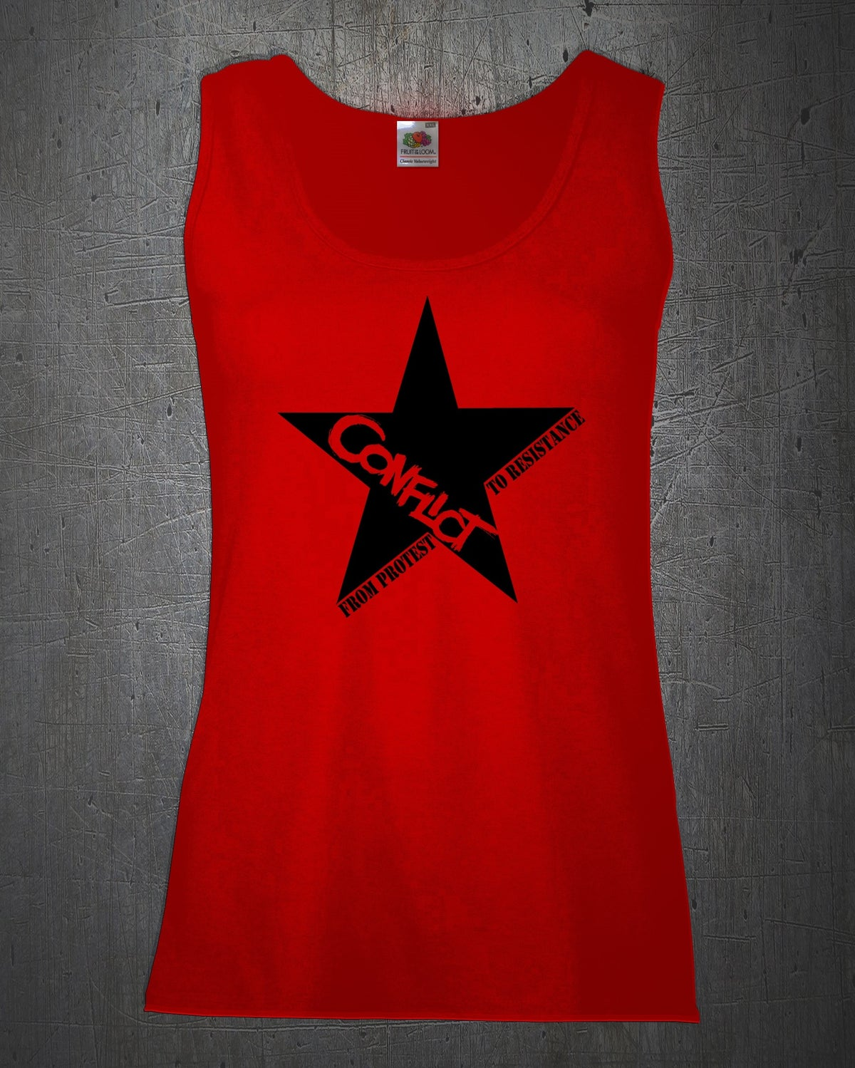 Image of 'From Protest to Resistance' female vest in red, white or black.
