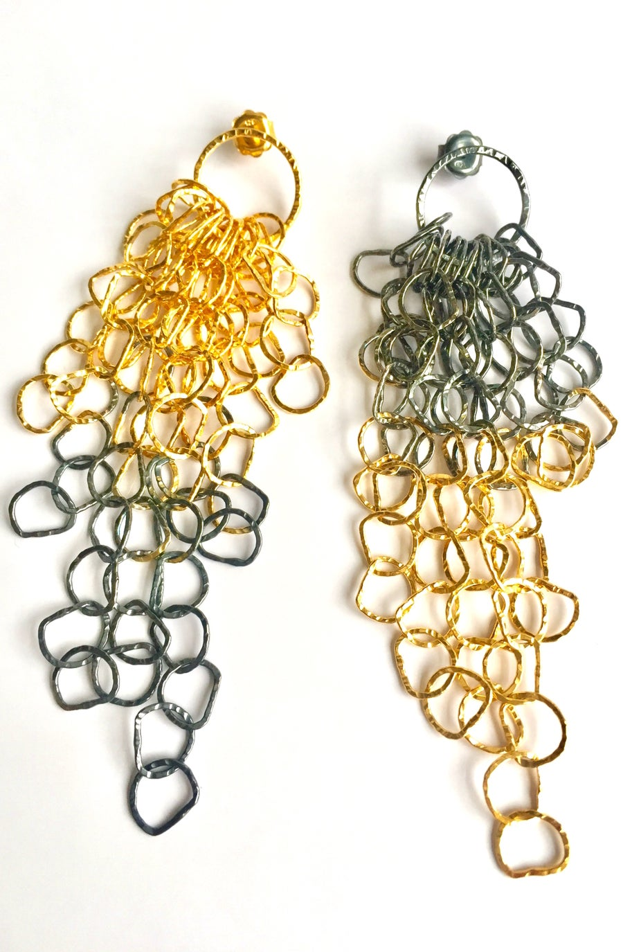 Image of Afiok large cascade earrings- oxidised silver/gold vermeil