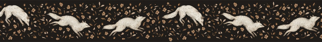 Image of Arctic Fox with Golden Flowers Washi Tape