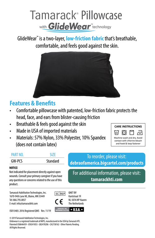 Image of Tamarack Pillowcase with GlideWear TM Technology in Black