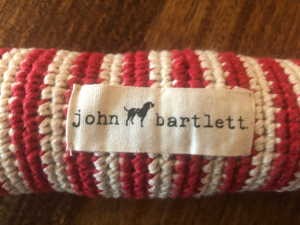 Image of Hand crocheted 100% cotton large red/white dog toy 11.5""