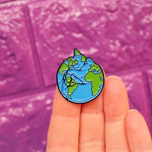 Image of Cat World / planet Earth, enamel pin - space - cats are my world - lapel pin badge