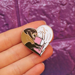 Image of Ferret heart, enamel pin - loveheart - ferret pin - cute pin - fuzzies - lapel pin badge