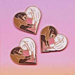Image of Ferret heart, enamel pin - loveheart - ferret pin - cute pin - fuzzies - lapel pin badge