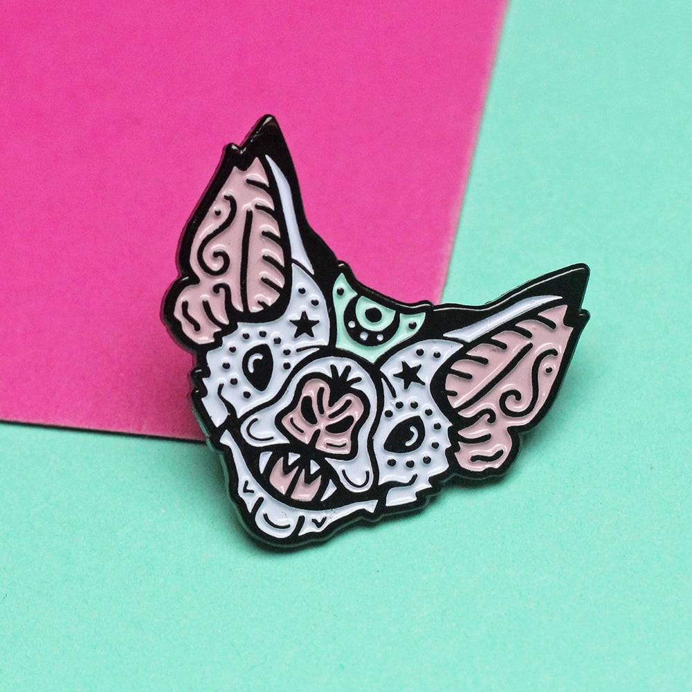 Image of Mystical vampire bat, enamel pin - bat pin - creepy cute - spooky pin - lapel pin badge