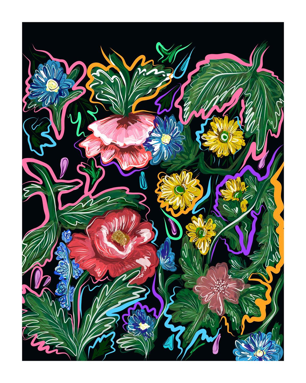 "Image of ""Electric Floral Fantasy"" (2018) - Art Print"