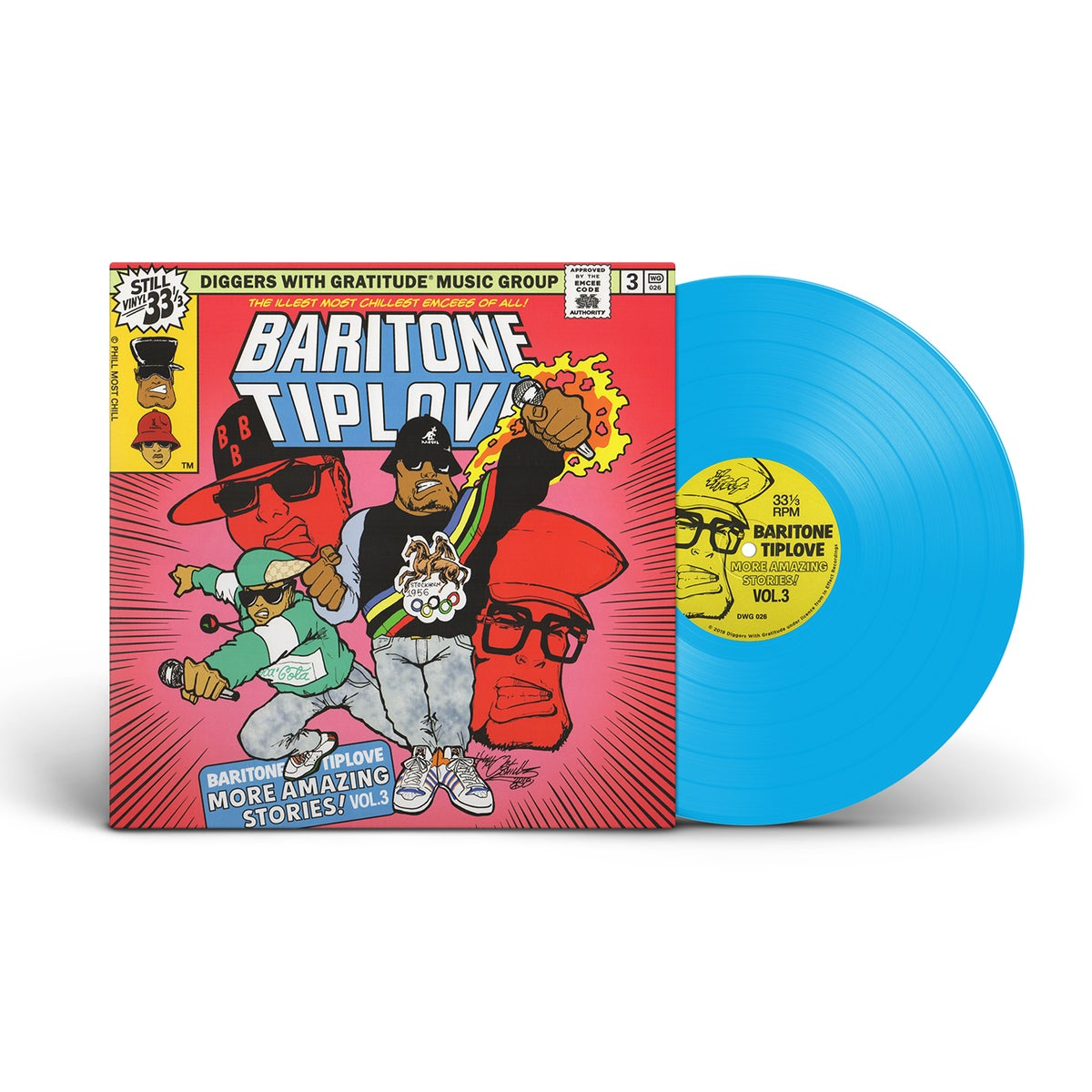 "Image of Baritone Tiplove - More Amazing Stories! Vol. 3 - DWG exclusive 180g blue vinyl and 7"" BUNDLE"