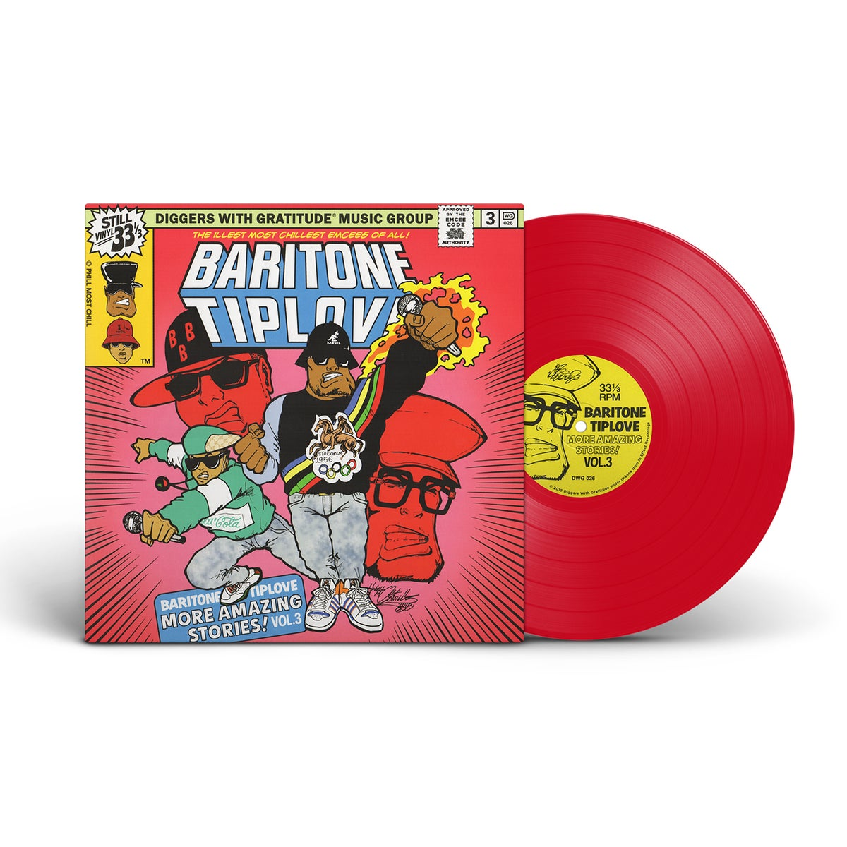 "Image of Baritone Tiplove - More Amazing Stories! Vol. 3 - DWG exclusive 180g red PROMO vinyl and 7"" BUNDLE"