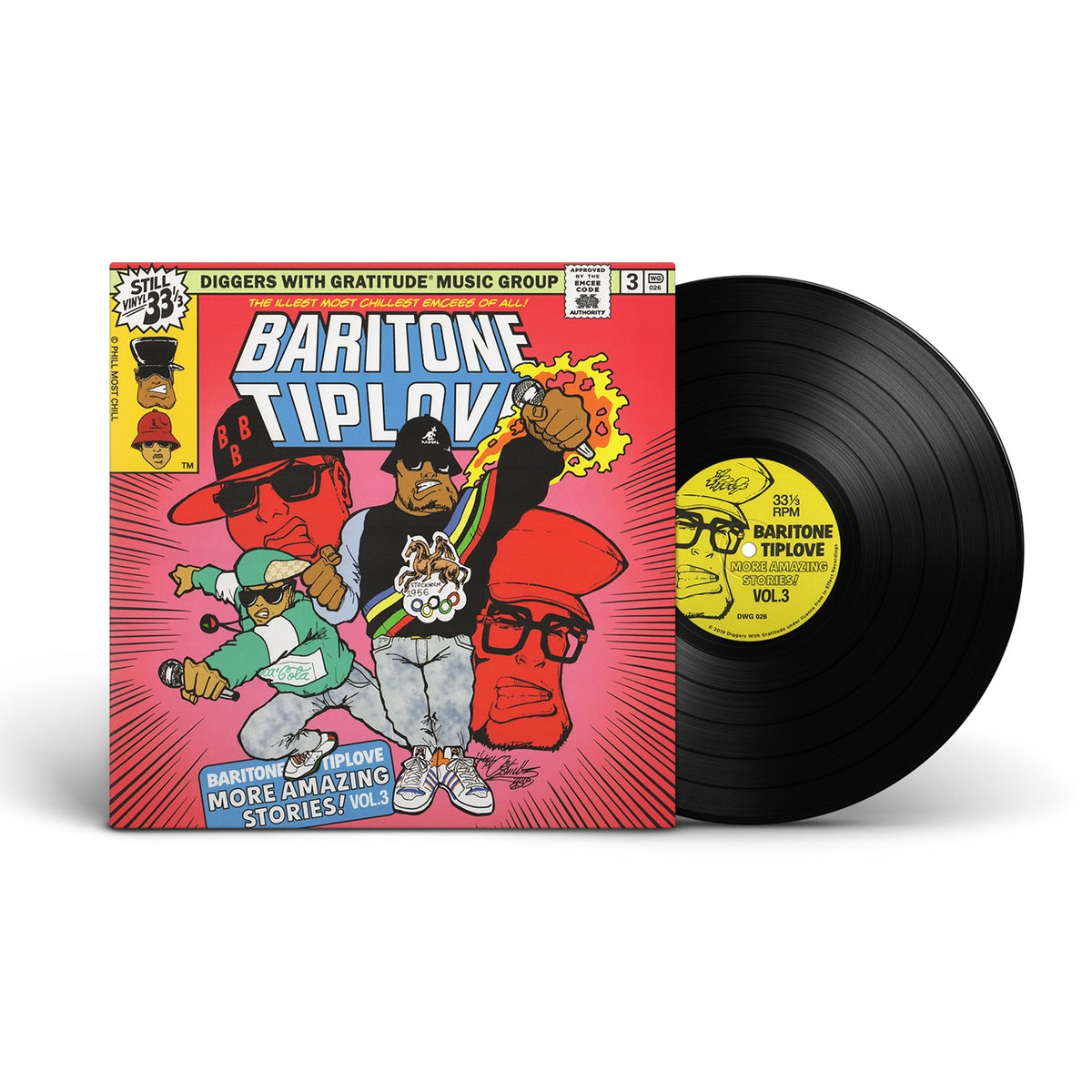 "Image of Baritone Tiplove - More Amazing Stories! Vol. 3 - DWG exclusive 140g black vinyl and 7"" BUNDLE"