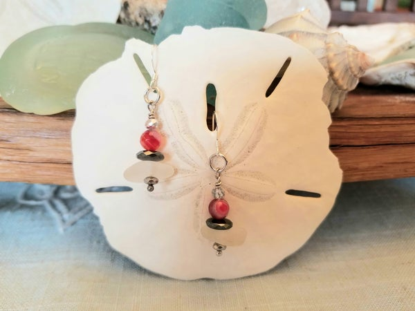 Image of Sea Glass- Red Agate- Sterling- Earrings- #257