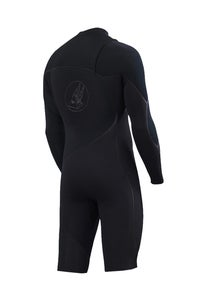 Image of ZION WETSUITS <BR> CORTEZ 2/2 LONG ARM SPRINGSUIT <br /> BLACK WITH BLACK LOGOS