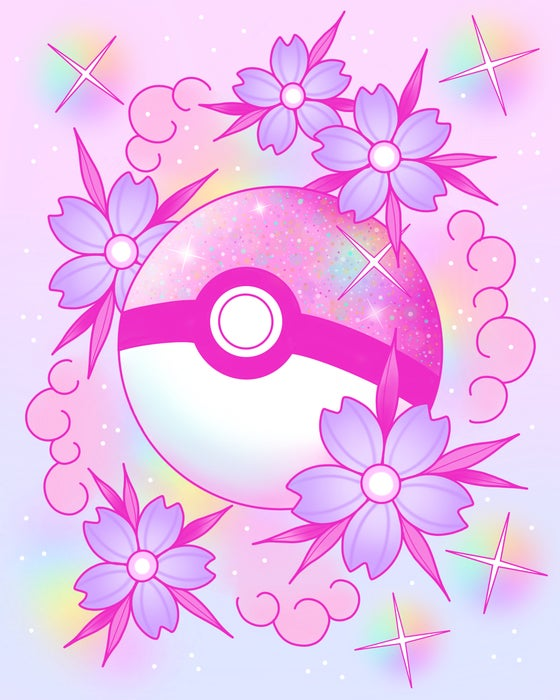 Image of Pink Pokeball Print - Preorder