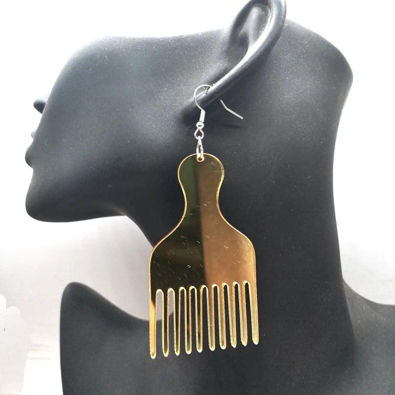 Image of Gold Metallic Afro Pick Earrings