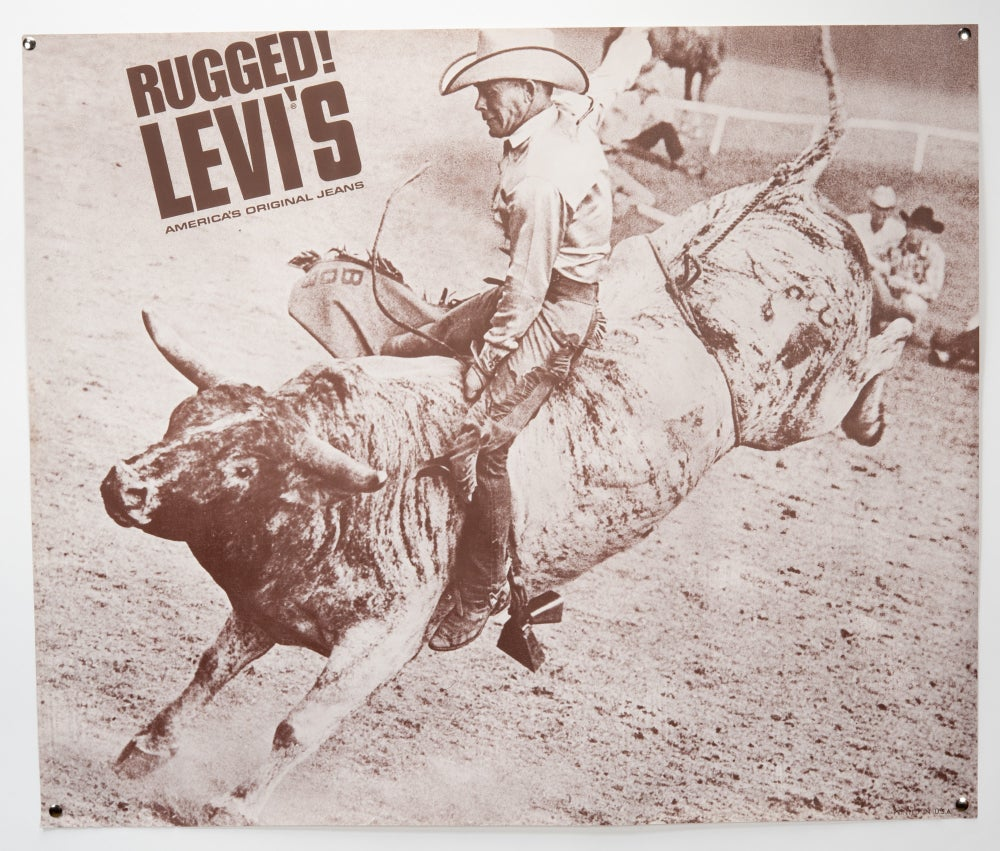 Image of 1970's Vitnage Levi's Poster Cowboy Bullrider Rodeo Western Bucking Rugged Poster 34.5 X 29
