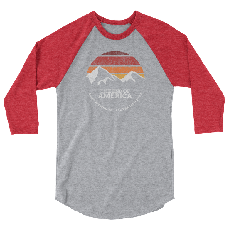 "Image of ""Show Me Who You Are"" Baseball Tee (Incl. 20% Disc) Grey/Red"