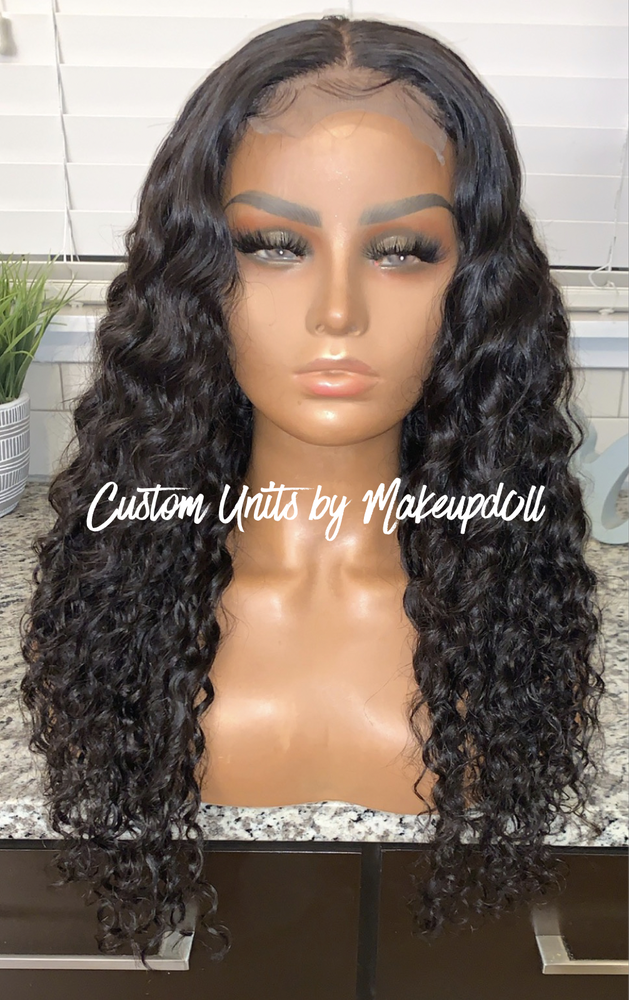 "Image of Indian Wavy/Curly 24"" Closure Wig!"