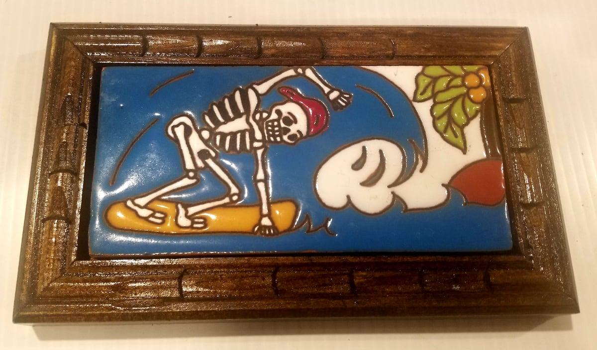 "Image of ""Hang Ten"" Wood Framed Tile"