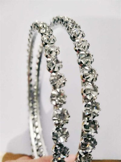 Image of Large Silver Rhinestone Hoop Earrings
