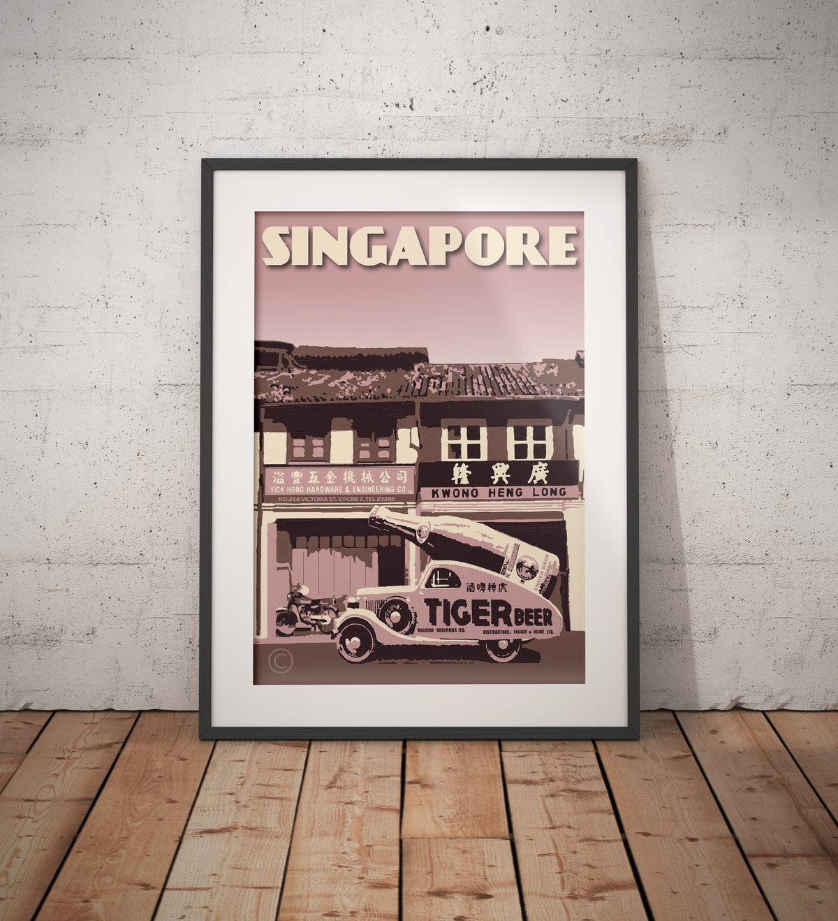 Image of Vintage poster Singapore #Tiger Beer Vintage Car