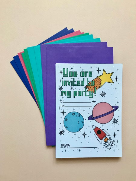 Image of SPACE THEMED PARTY INVITES