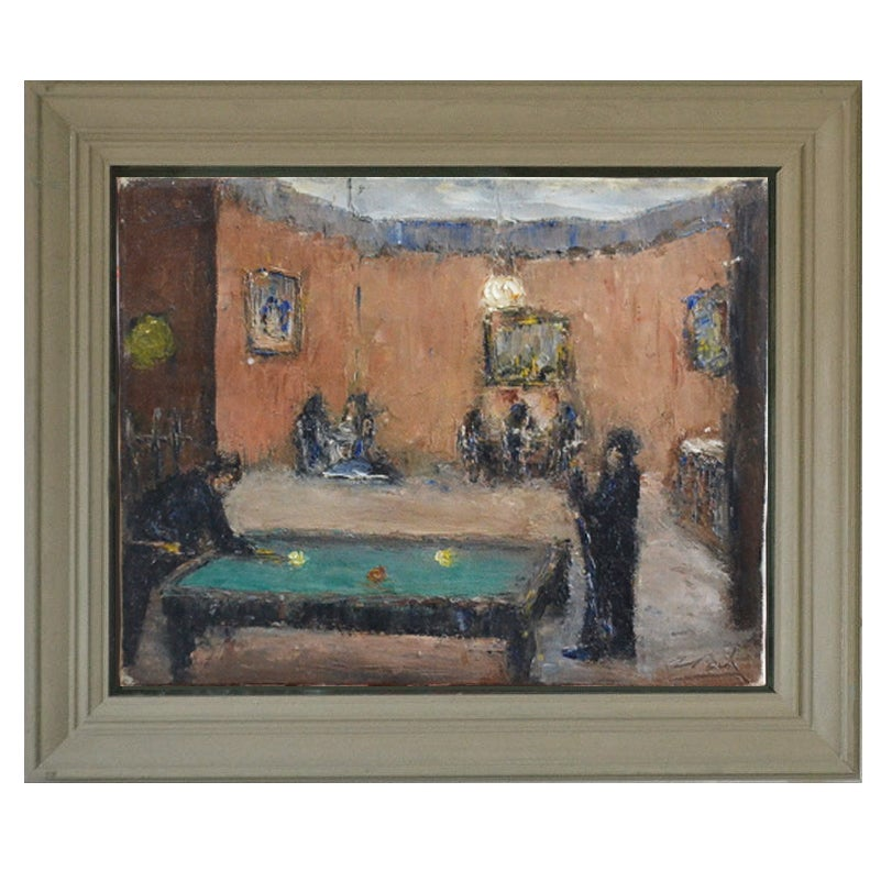Image of 1920, French Impressionist Painting, 'Billiards.'