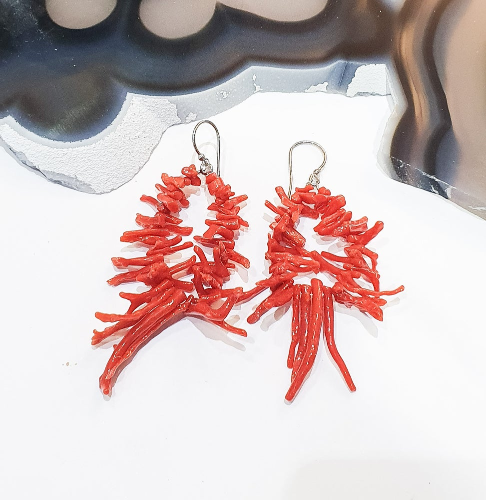 Image of Italian Coral Spiked Earrings