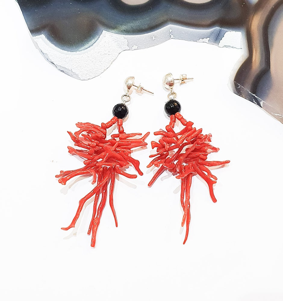Image of Spiked Coral and Onyx Earrings