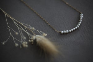 Image of White Freshwater pearl necklace with chain