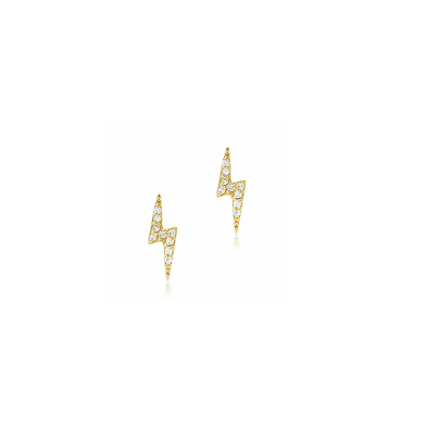 Image of 14kt and Diamonds Mini Lightning Bolt Studs, Mini Star and Moon Studs