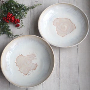 Image of Pair of Pasta Bowls in White and Ocher Glaze, Handmade Pottery Bowls, Made in USA