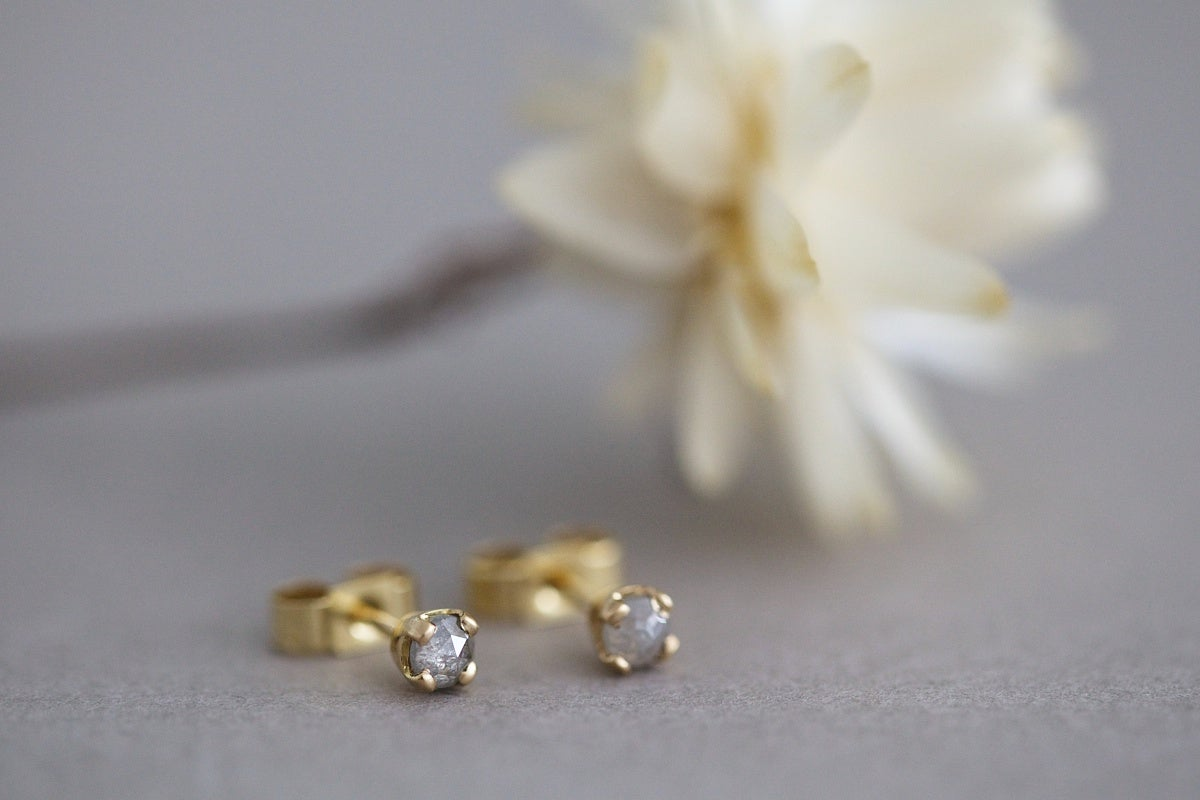 Image of Grey Rose-cut diamond stud earrings
