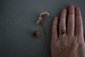 Image of Personalised 'Barleycorn' signet rings in silver, 9ct or 18ct gold (Design Options)