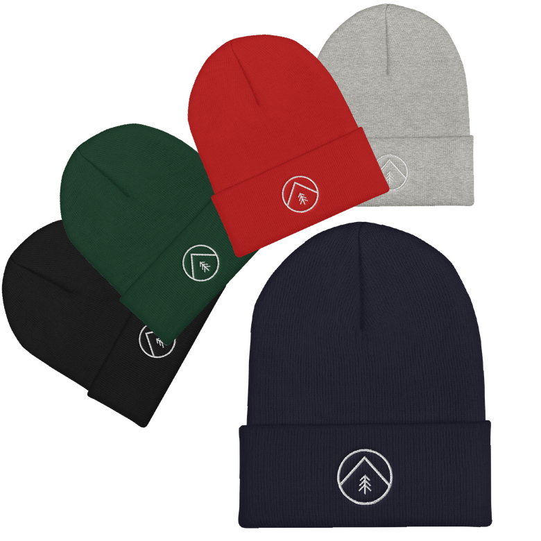 "Image of ""Tree & Mountain"" Embroidered Logo Beanie"