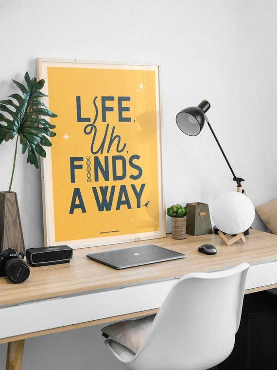 Image of Life Finds A Way - Jurassic Park Typographic Print