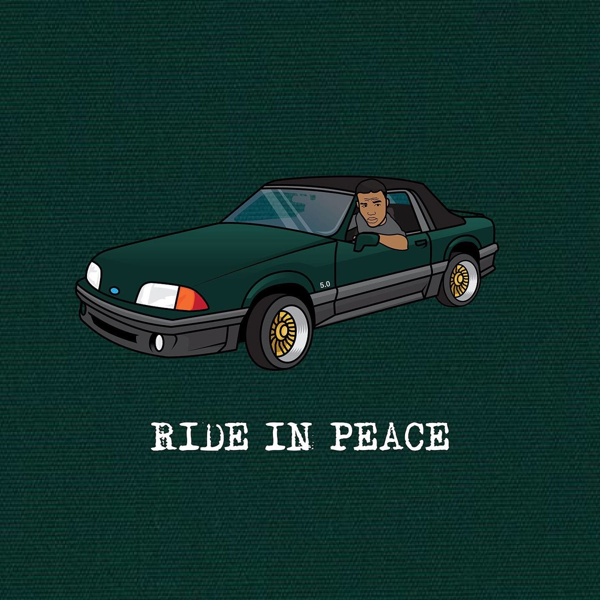"""Image of Caine """"Ride In Peace"""" green hoodie (Limited)"""