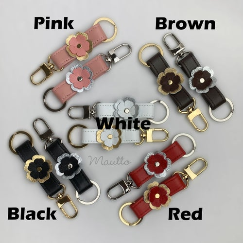 Image of Leather Key Ring Tether with Flower Accent - Key Fob Accessory - Choose Color & Finish