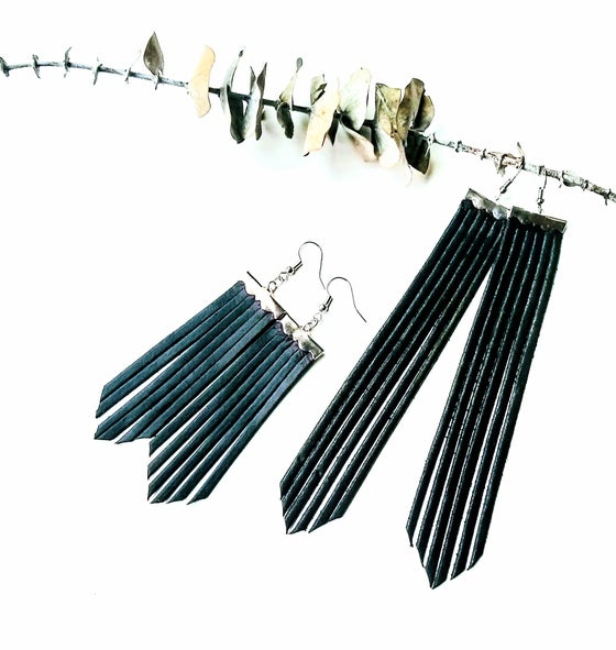 Image of Spoon & Theory - Leather Fringe Earrings