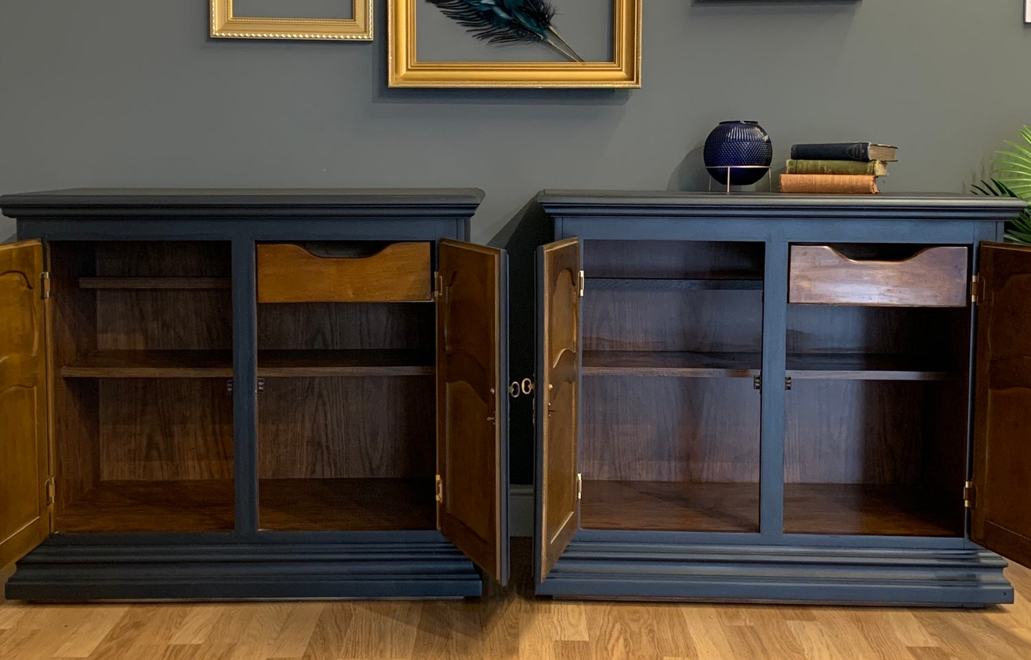 "Image of Farrow & Ball ""Railway"" wooden cupboards"
